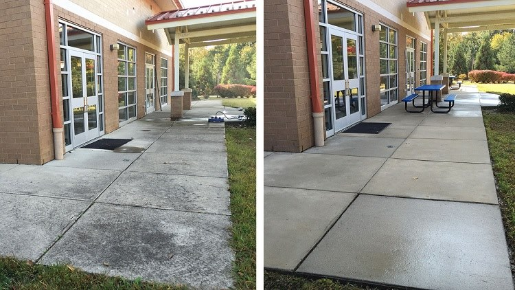 Before and after pressure washing at a school in Atlanta.